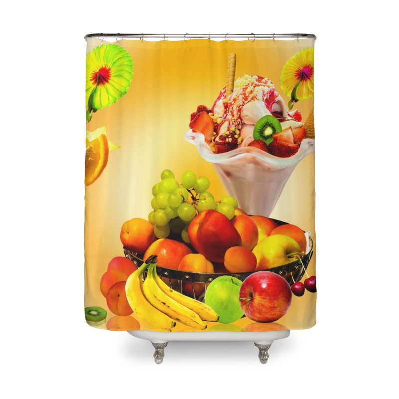 SUMMER FRUIT,ICE CREAM AND ORANGE JUICE Home Shower Curtain by THE ORANGE ZEROMAX STREET COUTURE