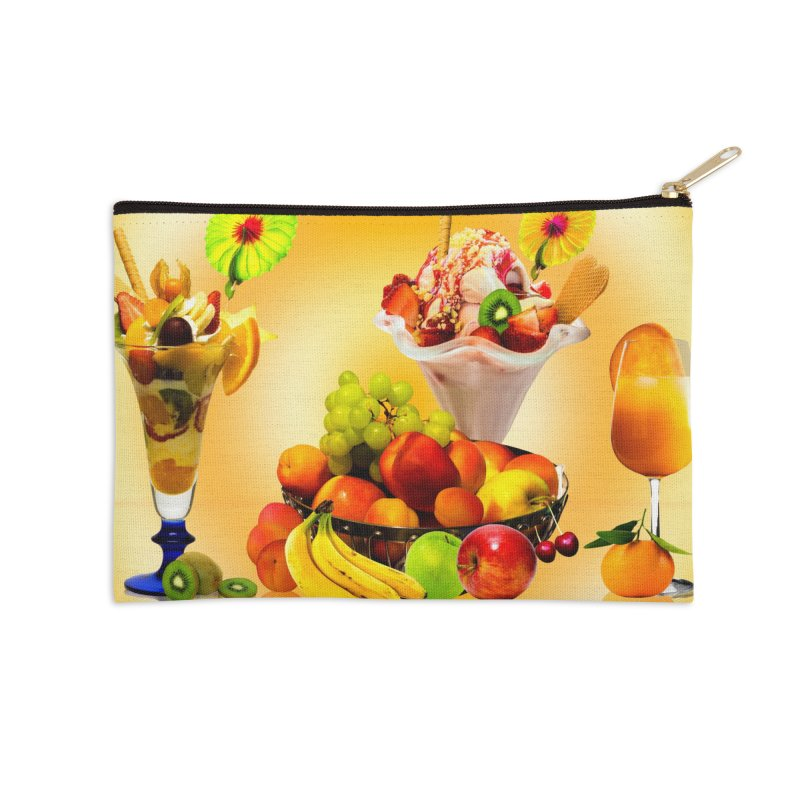 SUMMER FRUIT,ICE CREAM AND ORANGE JUICE Accessories Zip Pouch by THE ORANGE ZEROMAX STREET COUTURE