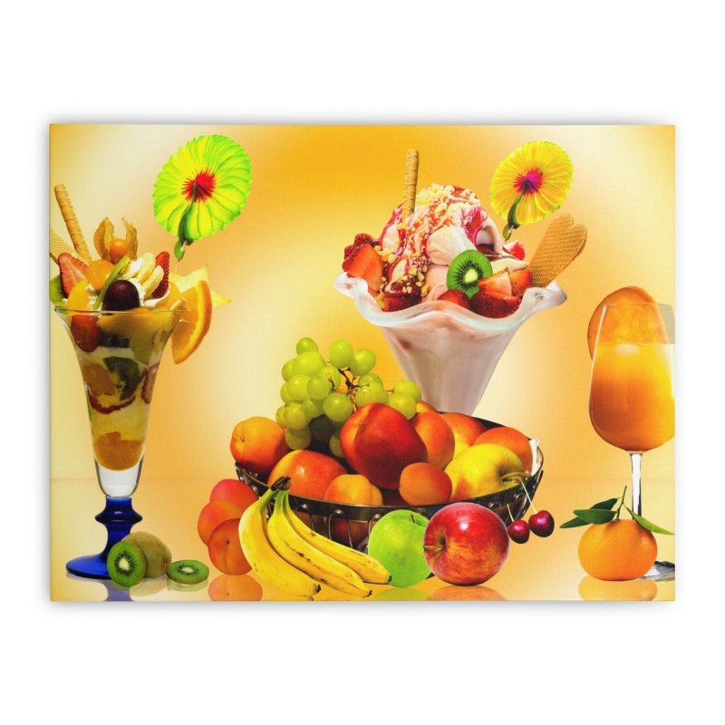 SUMMER FRUIT,ICE CREAM AND ORANGE JUICE Home Stretched Canvas by THE ORANGE ZEROMAX STREET COUTURE