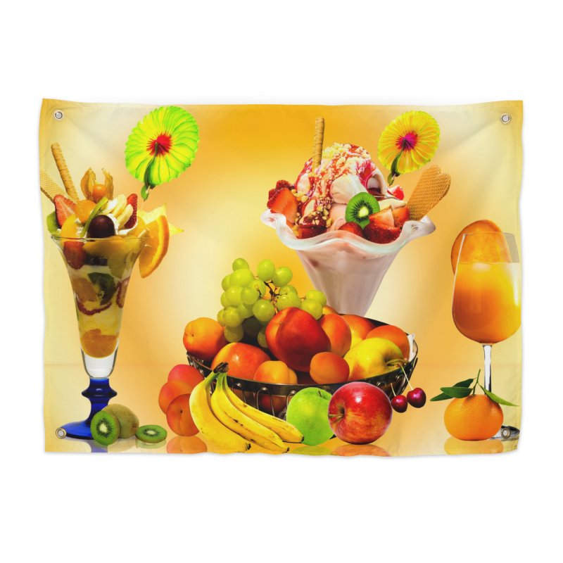 SUMMER FRUIT,ICE CREAM AND ORANGE JUICE Home Tapestry by THE ORANGE ZEROMAX STREET COUTURE