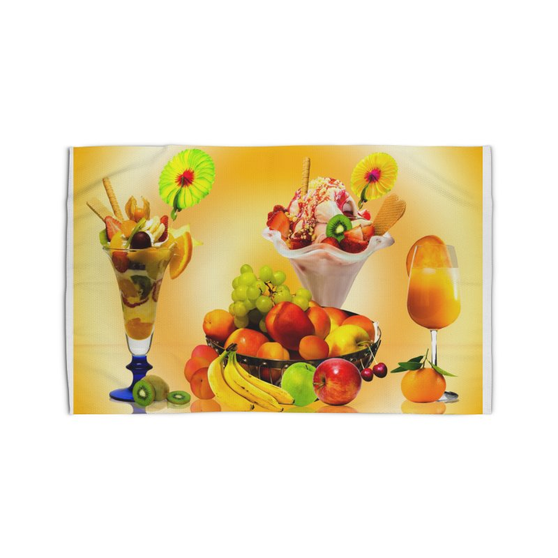 SUMMER FRUIT,ICE CREAM AND ORANGE JUICE Home Rug by THE ORANGE ZEROMAX STREET COUTURE