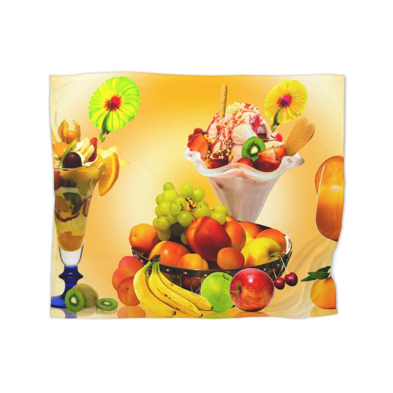 SUMMER FRUIT,ICE CREAM AND ORANGE JUICE Home Blanket by THE ORANGE ZEROMAX STREET COUTURE
