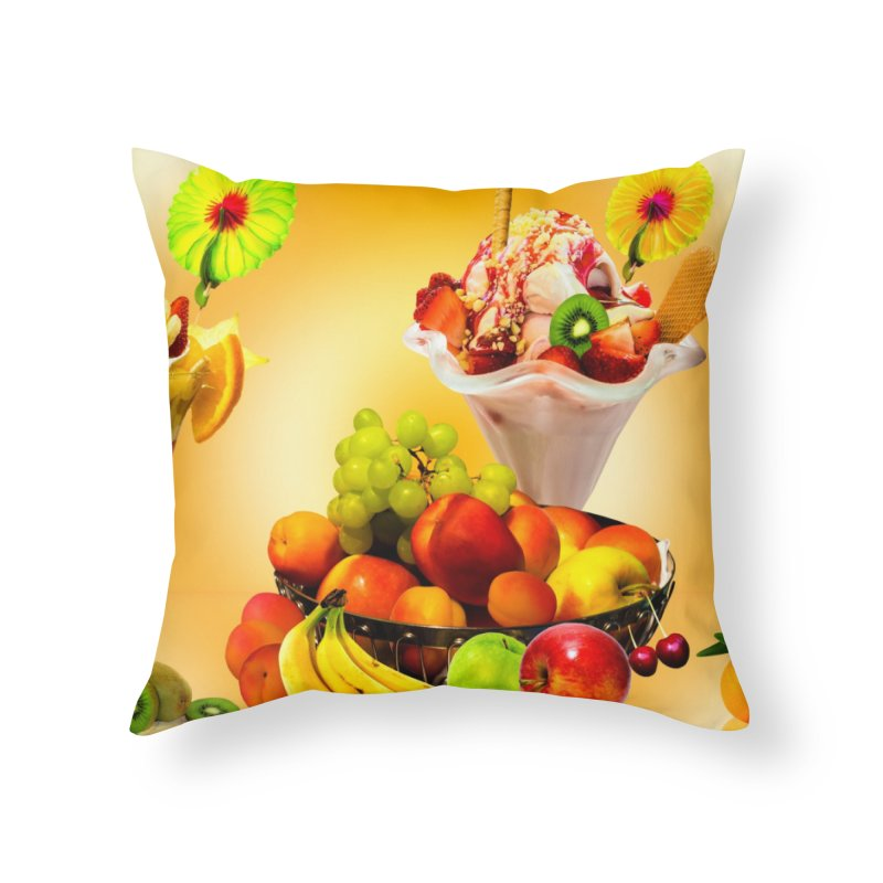 SUMMER FRUIT,ICE CREAM AND ORANGE JUICE Home Throw Pillow by THE ORANGE ZEROMAX STREET COUTURE