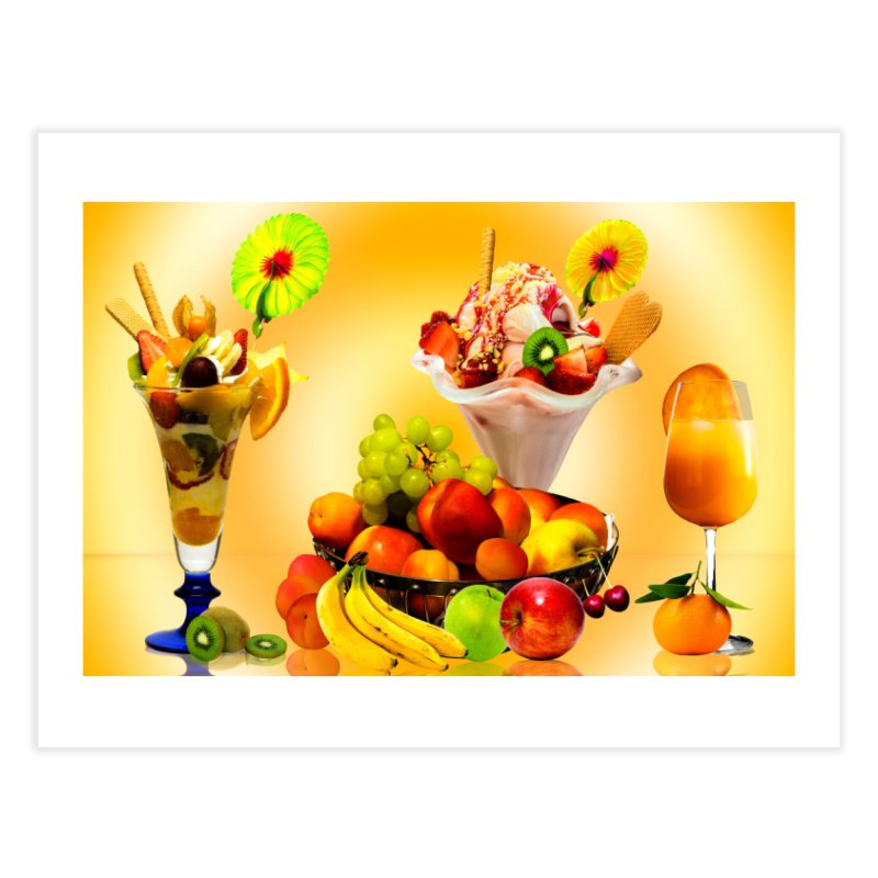 SUMMER FRUIT,ICE CREAM AND ORANGE JUICE Home Fine Art Print by THE ORANGE ZEROMAX STREET COUTURE