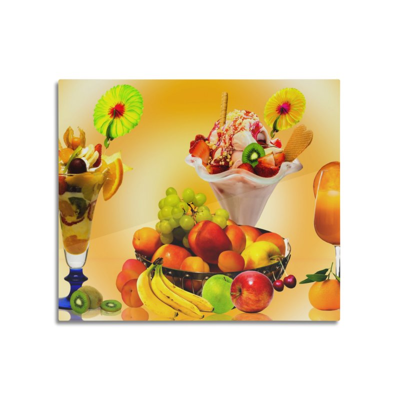 SUMMER FRUIT,ICE CREAM AND ORANGE JUICE Home Mounted Acrylic Print by THE ORANGE ZEROMAX STREET COUTURE
