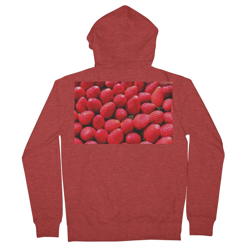 STRAWBERRIES Men's French Terry Zip-Up Hoody by THE ORANGE ZEROMAX STREET COUTURE