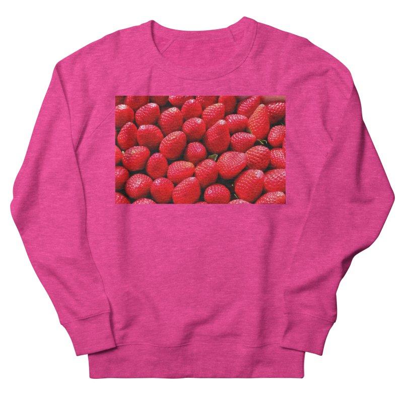 STRAWBERRIES Women's French Terry Sweatshirt by THE ORANGE ZEROMAX STREET COUTURE