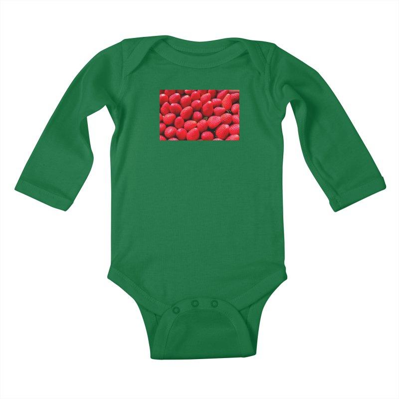 STRAWBERRIES Kids Baby Longsleeve Bodysuit by THE ORANGE ZEROMAX STREET COUTURE