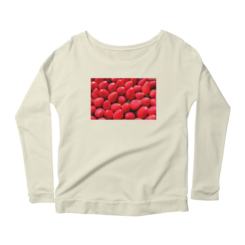 STRAWBERRIES Women's Scoop Neck Longsleeve T-Shirt by THE ORANGE ZEROMAX STREET COUTURE