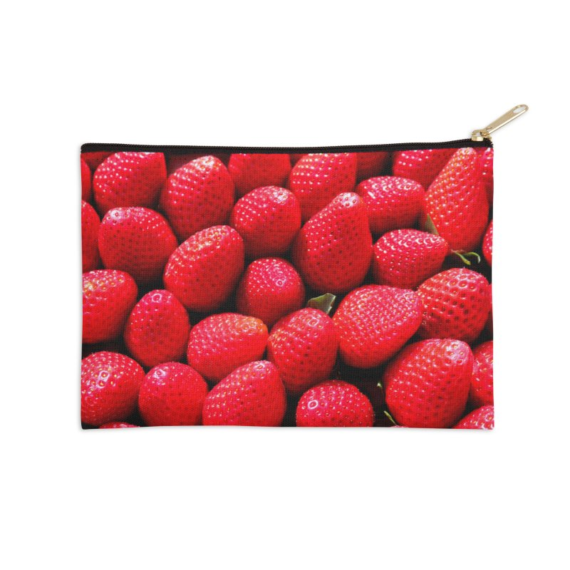 STRAWBERRIES Accessories Zip Pouch by THE ORANGE ZEROMAX STREET COUTURE