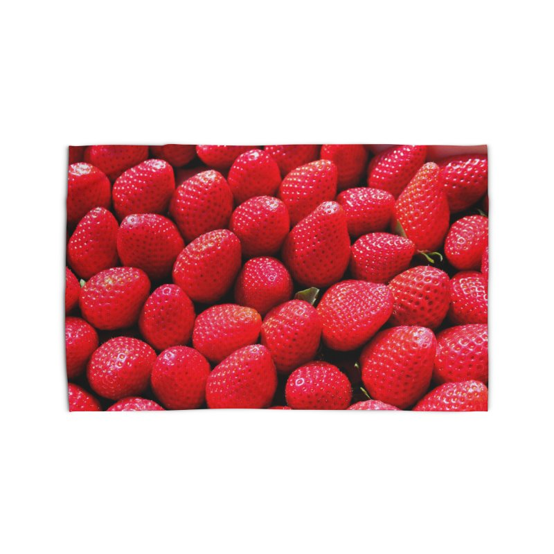 STRAWBERRIES Home Rug by THE ORANGE ZEROMAX STREET COUTURE