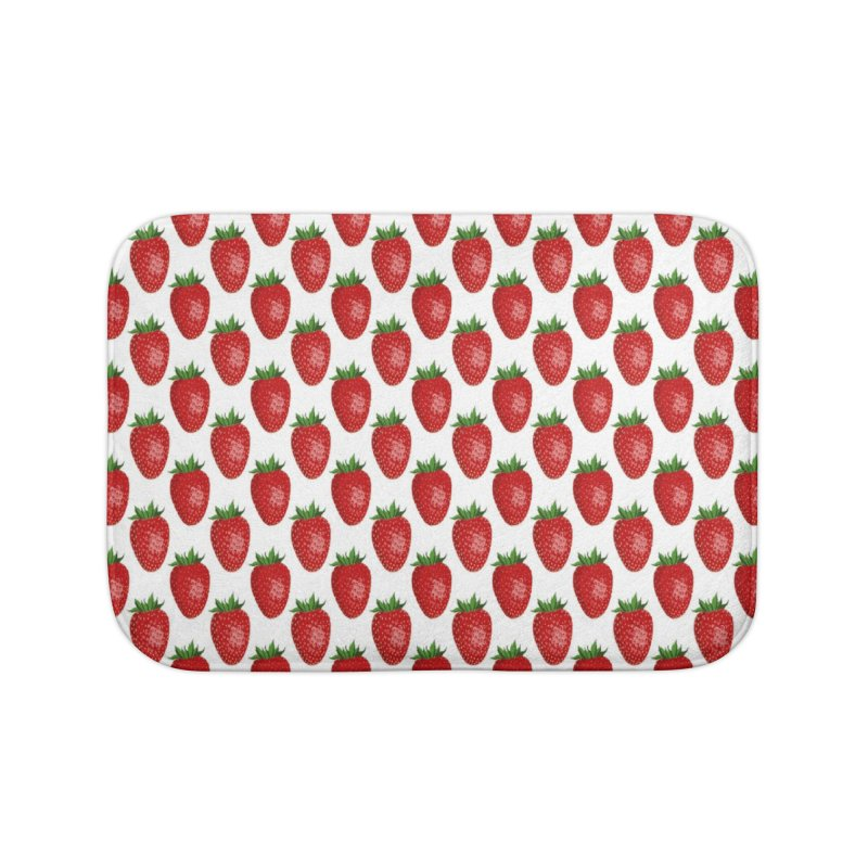 STRAWBERRIES Home Bath Mat by THE ORANGE ZEROMAX STREET COUTURE