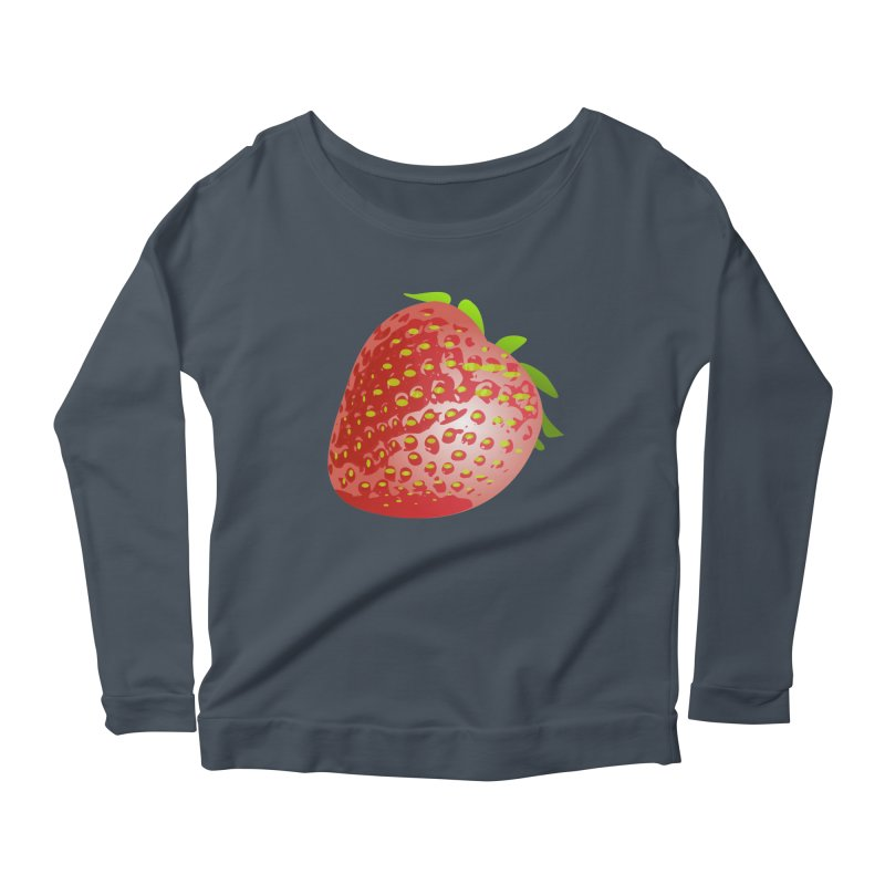 STRAWBERRY Women's Scoop Neck Longsleeve T-Shirt by THE ORANGE ZEROMAX STREET COUTURE