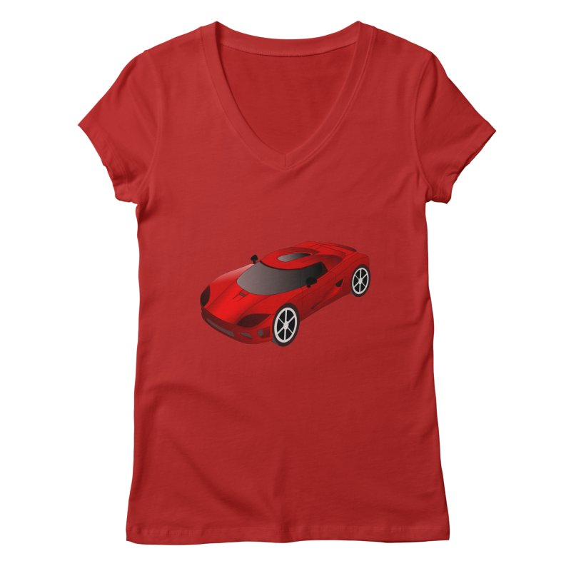 VOITURE-2 Women's V-Neck by THE ORANGE ZEROMAX STREET COUTURE