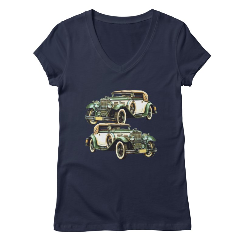 VOITURE-6 Women's V-Neck by THE ORANGE ZEROMAX STREET COUTURE