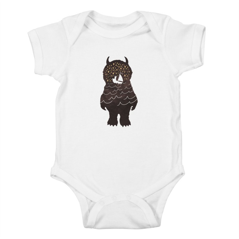 And Into The Night Kids Baby Bodysuit by ordinary fox