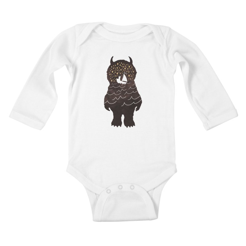 And Into The Night Kids Baby Longsleeve Bodysuit by ordinary fox