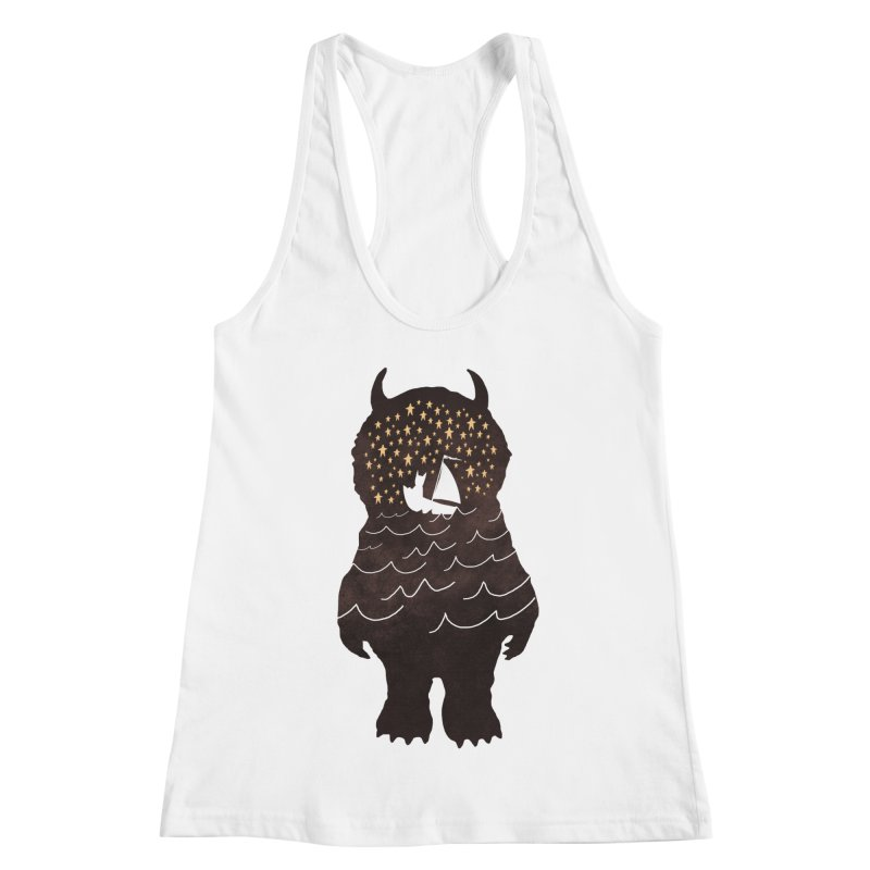 And Into The Night Women's Racerback Tank by ordinary fox