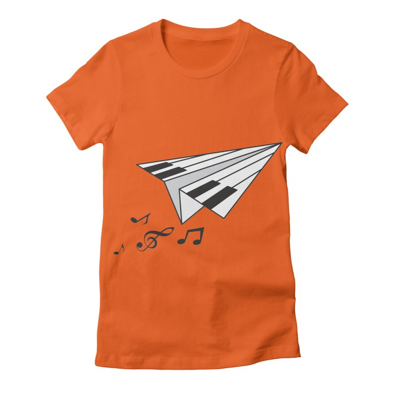 Flying Piano Women's Fitted T-Shirt by origami's Artist Shop