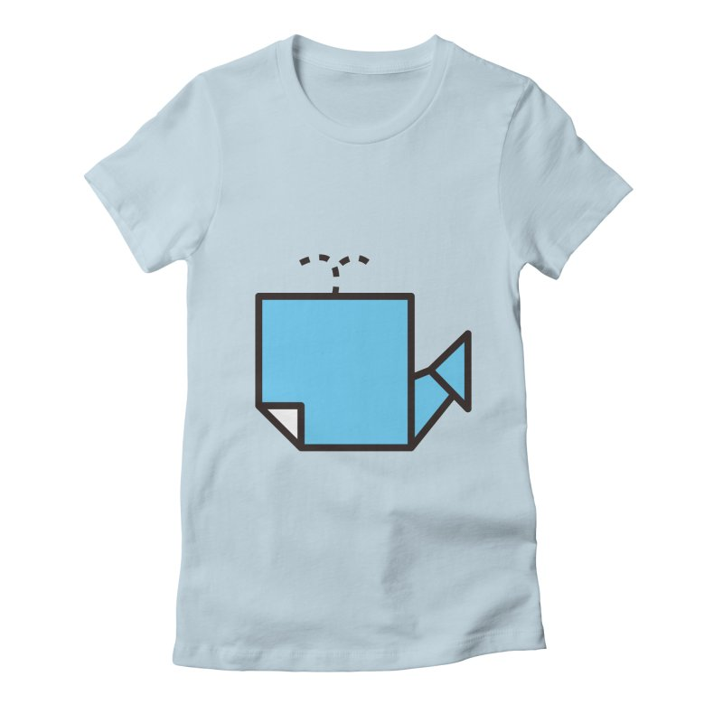 Origami Whale Women's Fitted T-Shirt by origami's Artist Shop