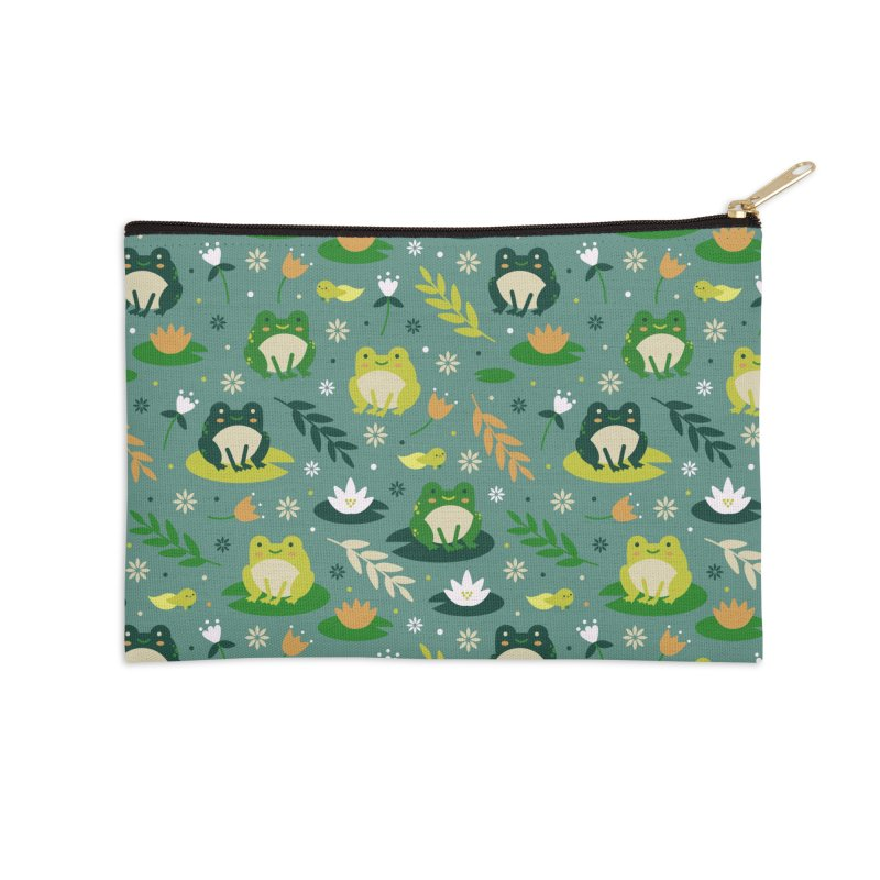 Cute little frogs pond pattern Accessories Zip Pouch by Origami Studio