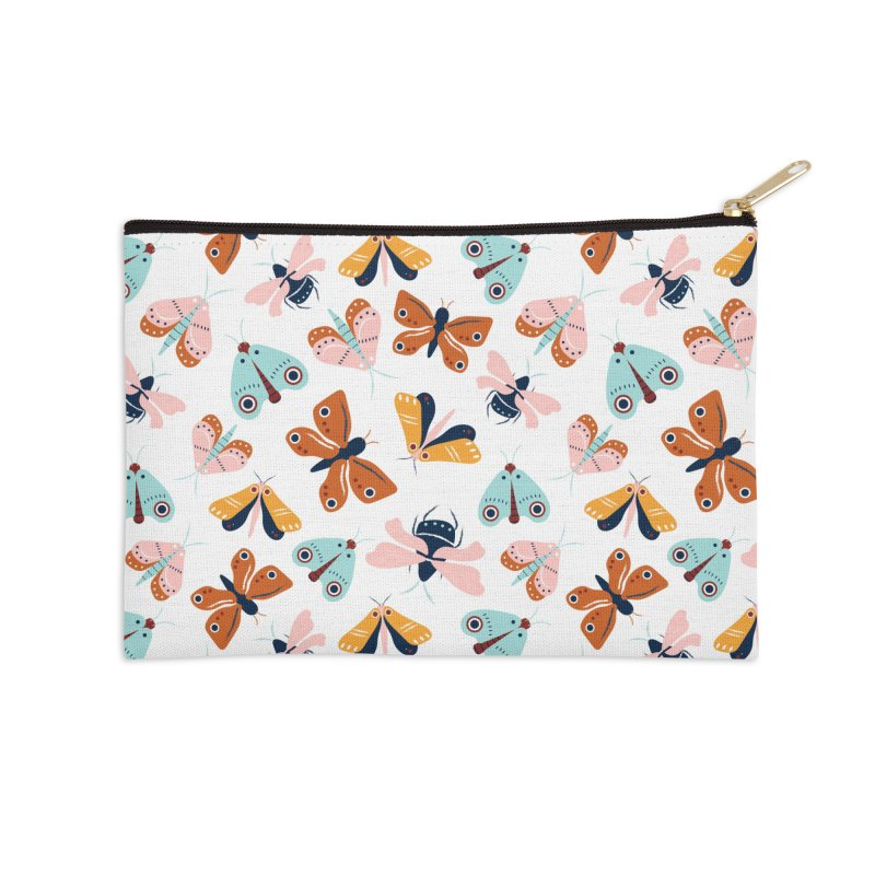 Colorful moths and butterflies pattern Accessories Zip Pouch by Origami Studio