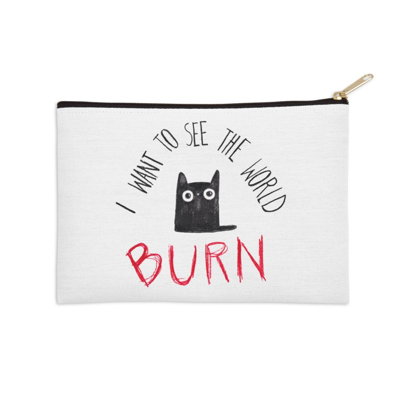 Psycho kitty Accessories Zip Pouch by Origami Studio