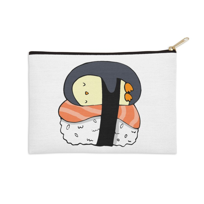 Sleepy sushi penguin Accessories Zip Pouch by Origami Studio