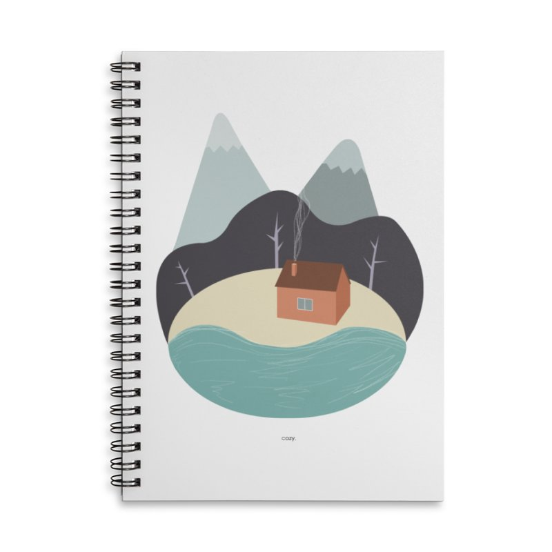 Cozy Mountain Home Accessories Lined Spiral Notebook by Origami Studio