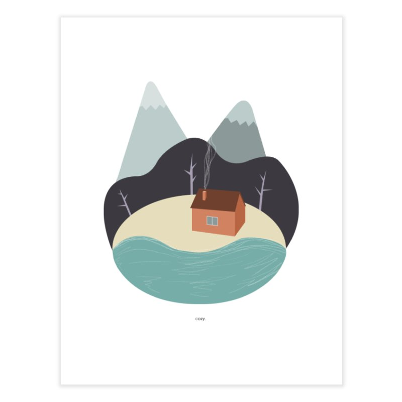 Cozy Mountain Home Home Fine Art Print by Origami Studio