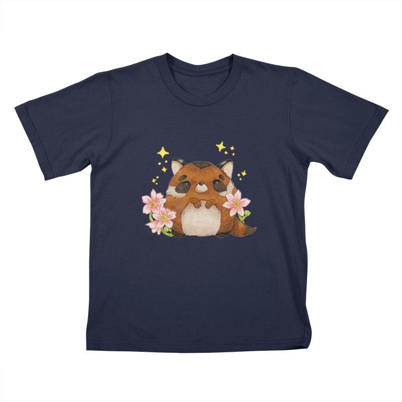 Cute little racoon Kids T-Shirt by Origami Studio