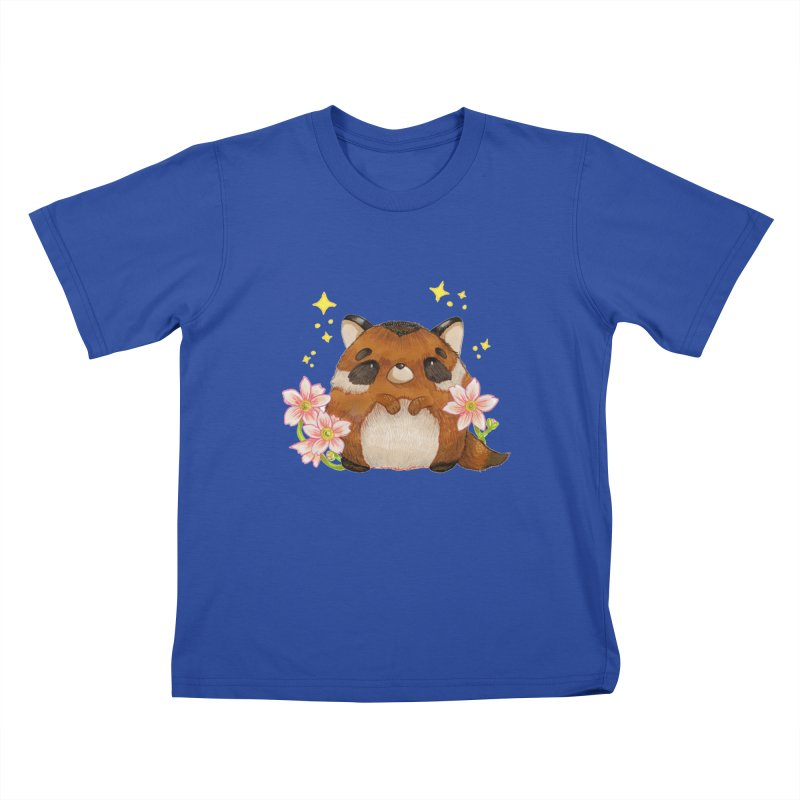 Cute little racoon Kids T-Shirt by Origami Studio