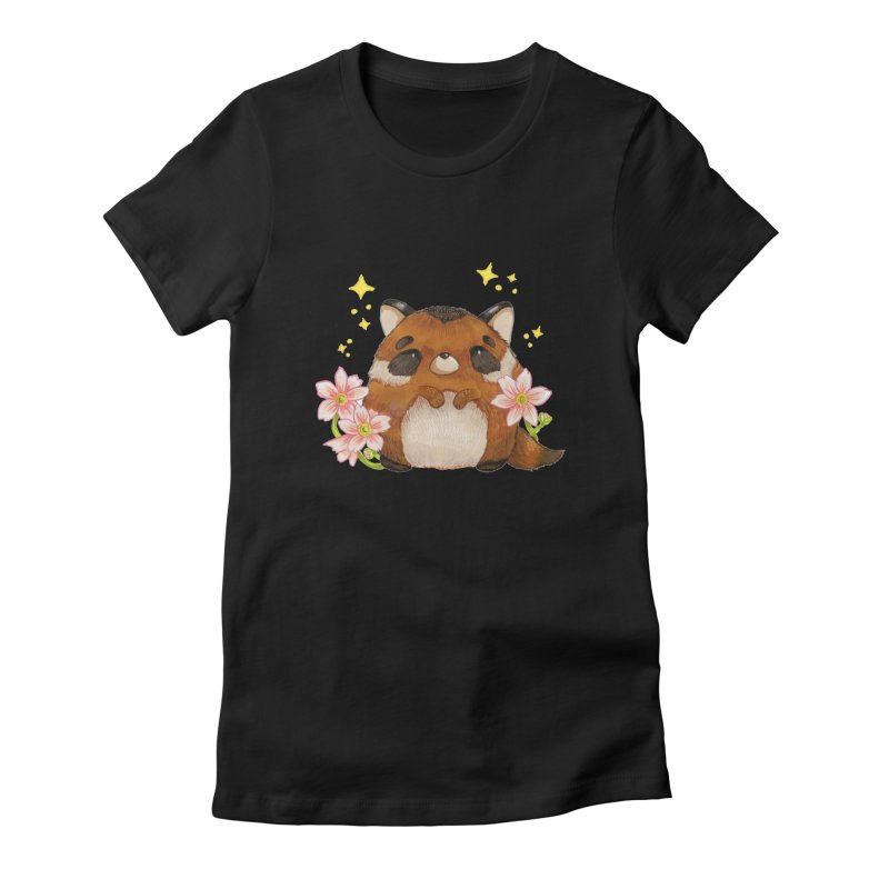 Cute little racoon Women's Fitted T-Shirt by Origami Studio