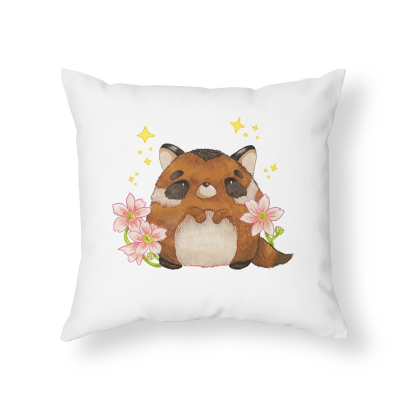 Cute little racoon Home Throw Pillow by Origami Studio