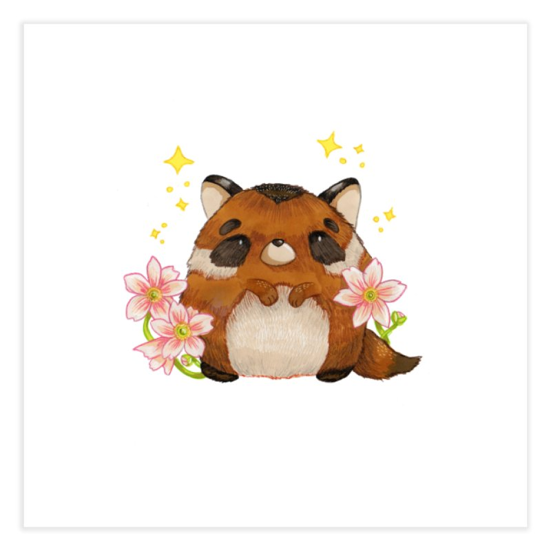 Cute little racoon Home Fine Art Print by Origami Studio