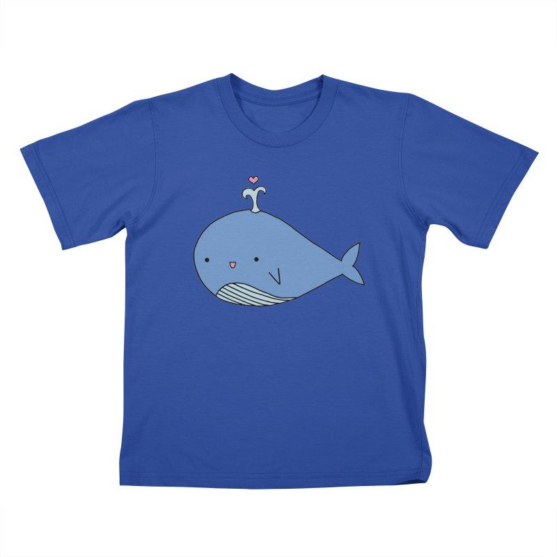 Happy Whale Kids T-Shirt by Origami Studio