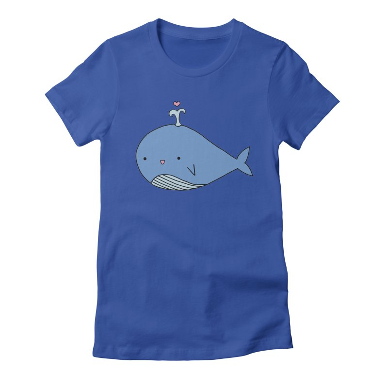 Happy Whale Women's Fitted T-Shirt by Origami Studio