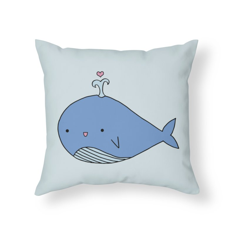 Happy Whale Home Throw Pillow by Origami Studio