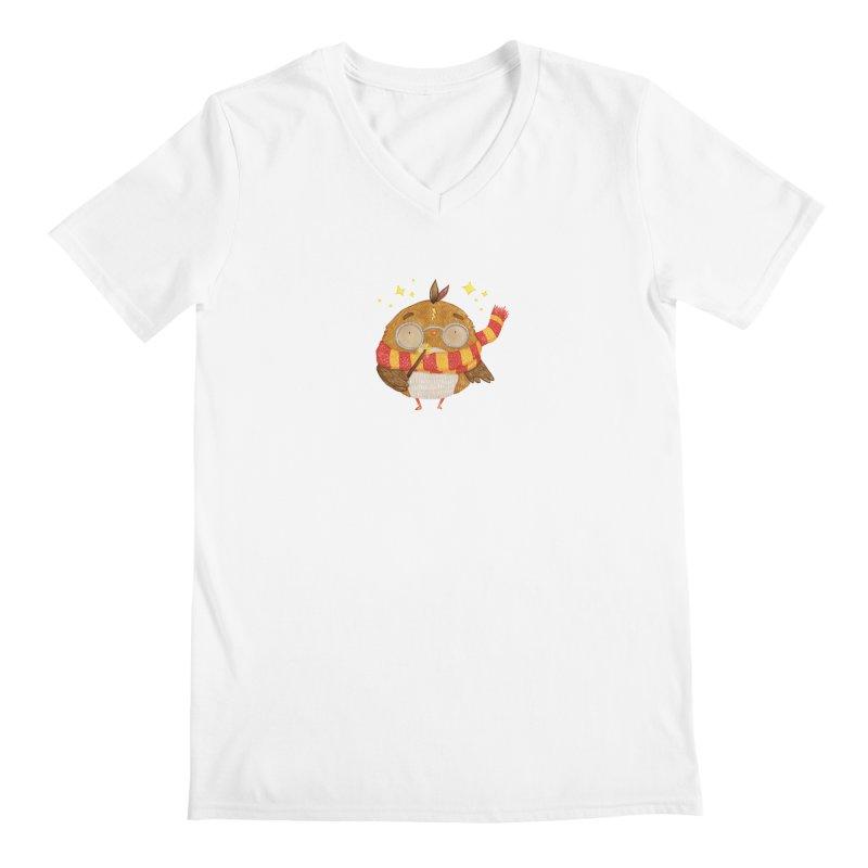 Little Harry Owl Men's Regular V-Neck by Origami Studio