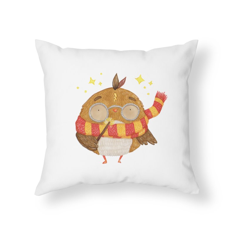 Little Harry Owl Home Throw Pillow by Origami Studio
