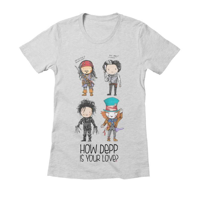 How Depp is your love? Women's Fitted T-Shirt by Origami Studio