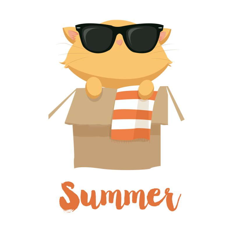 Summer Kitty Kids T-Shirt by Origami Studio
