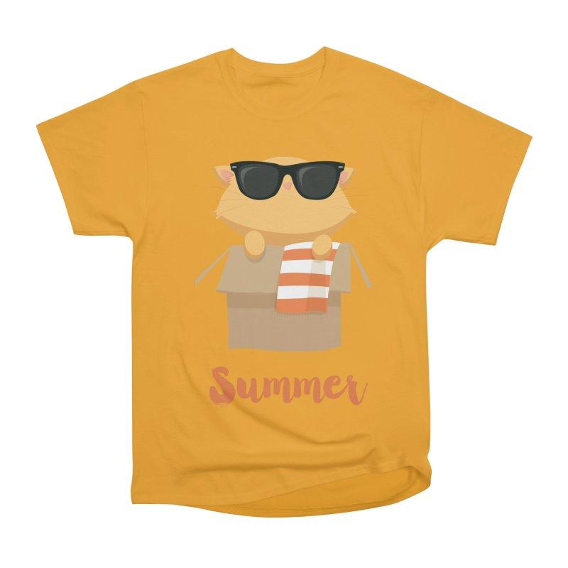 Summer Kitty Men's Heavyweight T-Shirt by Origami Studio