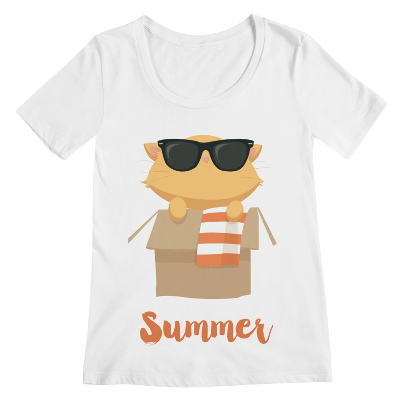 Summer Kitty Women's Regular Scoop Neck by Origami Studio