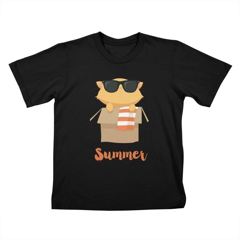 Summer Kitty Kids T-Shirt by Origami Studio