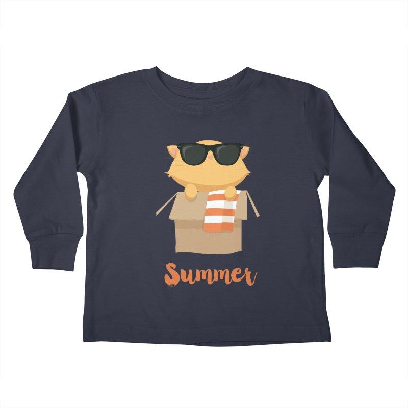 Summer Kitty Kids Toddler Longsleeve T-Shirt by Origami Studio