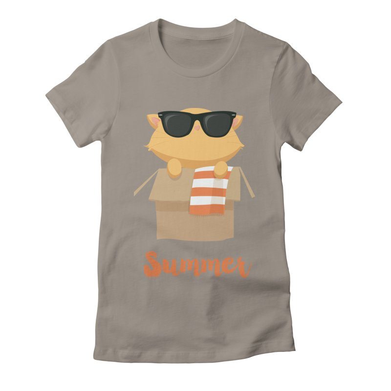Summer Kitty Women's Fitted T-Shirt by Origami Studio