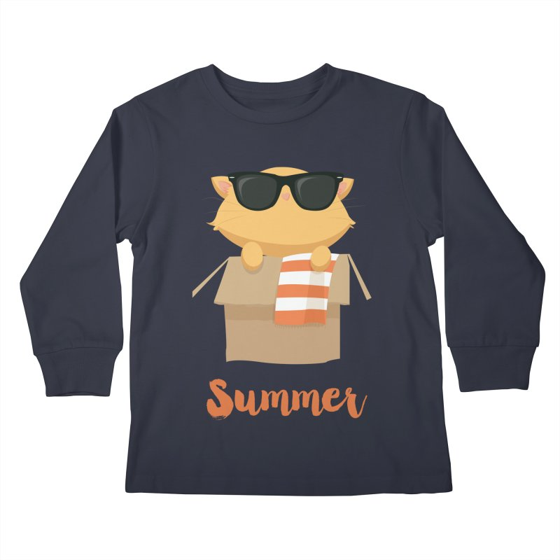 Summer Kitty Kids Longsleeve T-Shirt by Origami Studio