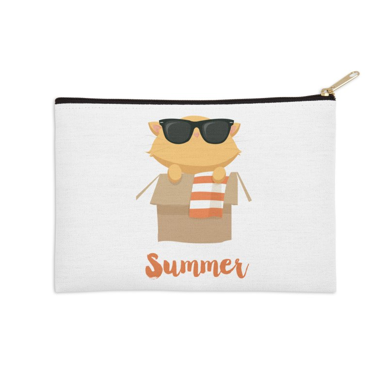 Summer Kitty Accessories Zip Pouch by Origami Studio
