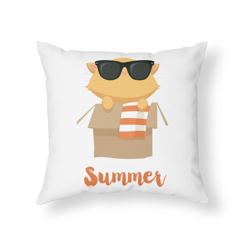 Summer Kitty Home Throw Pillow by Origami Studio